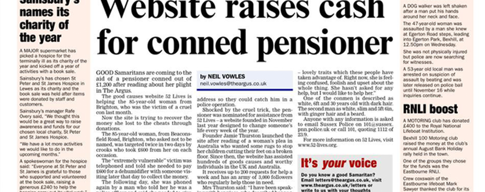 Website raises cash for conned pensioner